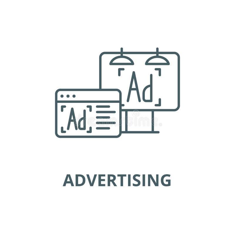 La publicité de la ligne icône de vecteur, concept d'ensemble, signe linéaire illustration libre de droits