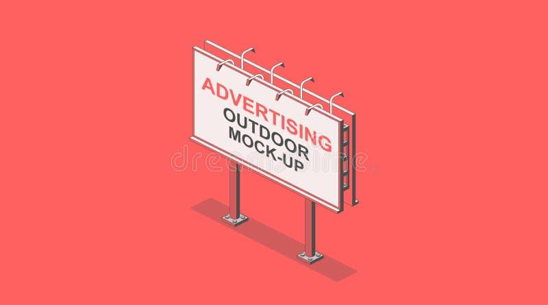 La publicité de la maquette extérieure Panneau d'affichage isométrique de rue Décrivez un vecteur solo de couleur de rouges Inter illustration stock
