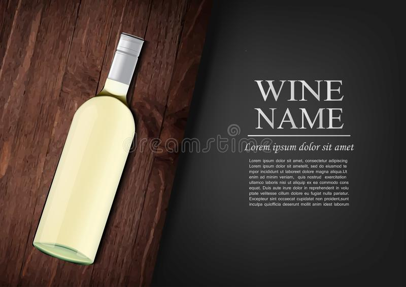 La publicité du drapeau Une bouteille réaliste de vin blanc avec le label noir dans le style photorealistic sur le conseil foncé  images stock