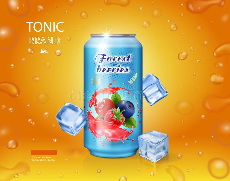 La publicité mélangée de jus de baie La boîte en fer blanc en aluminium avec des baies de forêt boivent avec des glaçons illustration libre de droits