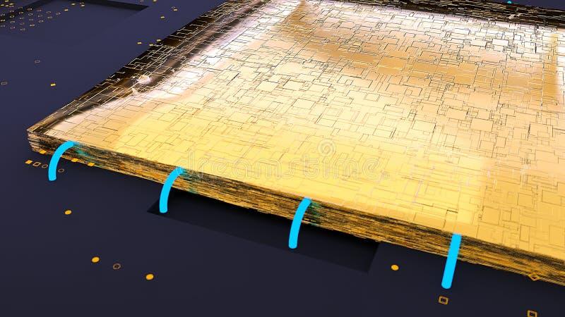 La puce d'or d'unité centrale de traitement rendu 3d illustration stock