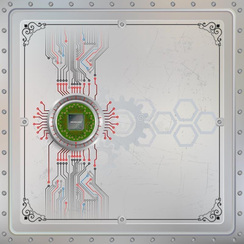 La puce de processeur sur le dispositif métallique circulaire s'est reliée au circuit illustration stock