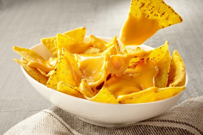La puce retirée du bol de fromage a couvert des nachos images libres de droits