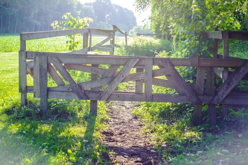 la puerta de madera de la escena rural cierra la trayectoria iluminada por sunli de la mañana foto de archivo libre de regalías