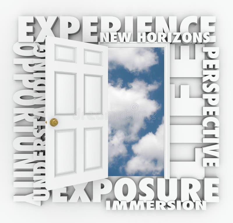 La puerta de New Horizons de la experiencia abre llevar a la oportunidad stock de ilustración