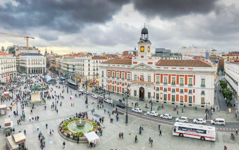 La Puerta del Sol från över royaltyfri fotografi