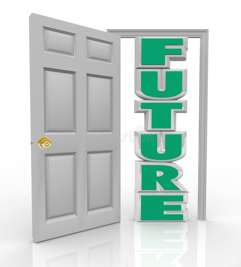 La puerta futura se abre en la nueva esperanza de la oportunidad y las buenas cosas stock de ilustración