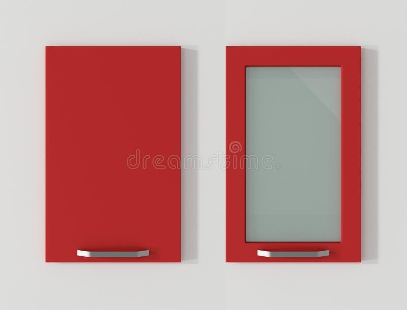 La puerta para los armarios de cocina flamea la representación roja 3D stock de ilustración