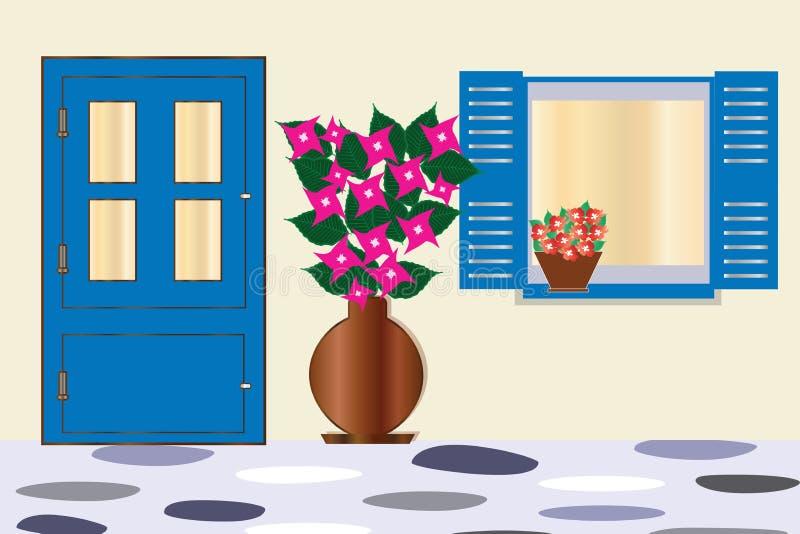 La puerta y la ventana azules con la buganvilla florecen - arquitectura tradicional de las casas del Griego stock de ilustración