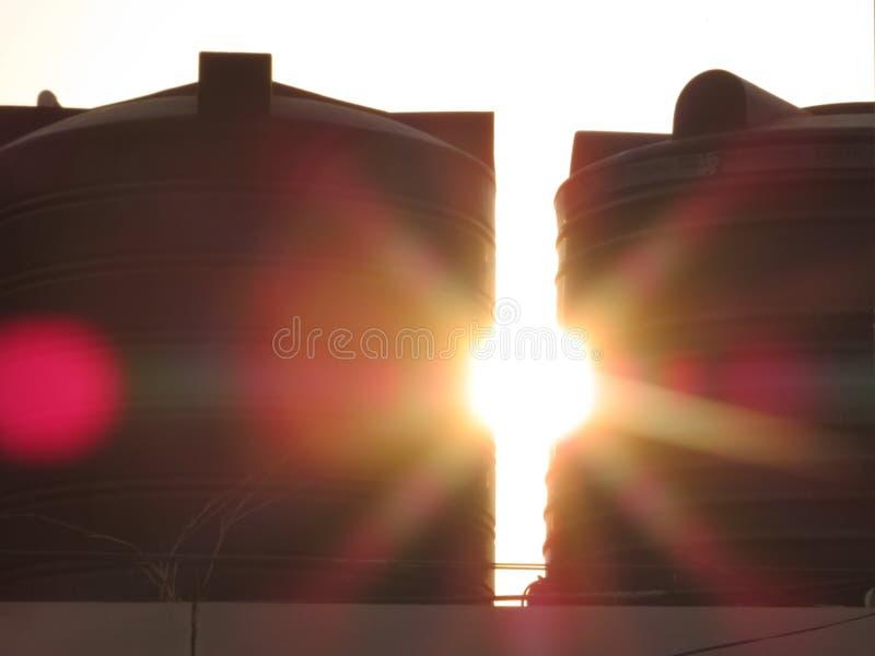 La puesta del sol imagen de archivo