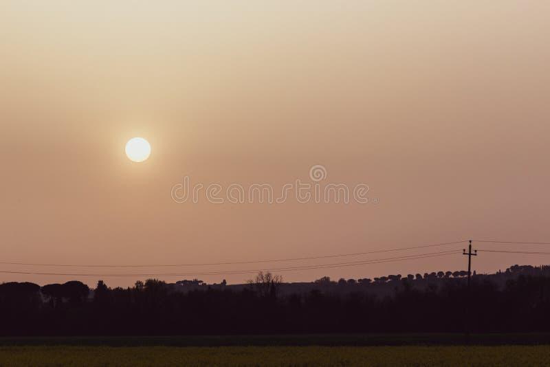La puesta del sol con la arena suspendió en la atmósfera, coluring el rojo del cielo, sobre siluetas de algunos árboles y líneas  imagenes de archivo