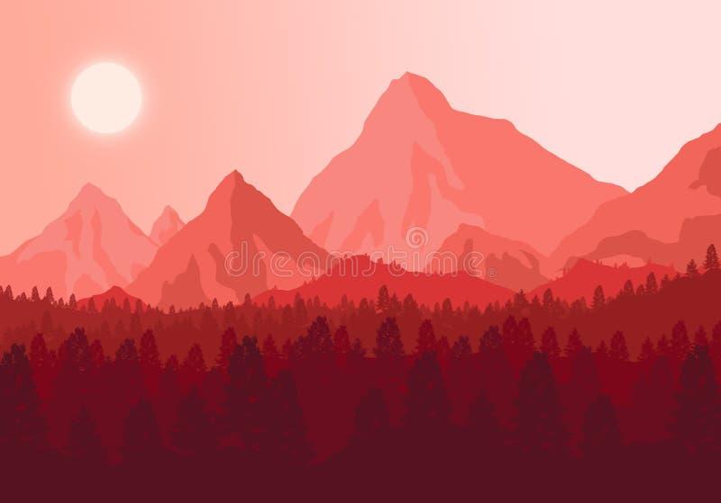 La puesta del sol de la imagen en las montañas fotos de archivo