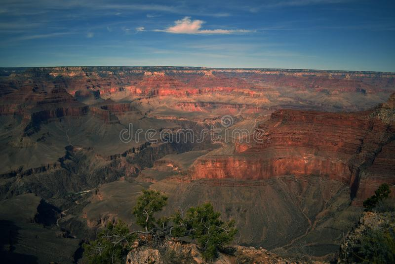 La puesta del sol de oro echa sobre el Gran Cañón imagen de archivo libre de regalías