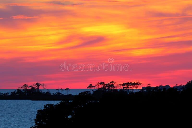 La puesta del sol en quejas dirige, Carolina del Norte imágenes de archivo libres de regalías