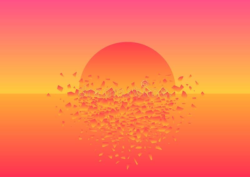 La puesta del sol rosada se estrelló ilustración del vector
