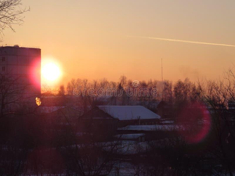 La puesta del sol siberiana 2 fotos de archivo
