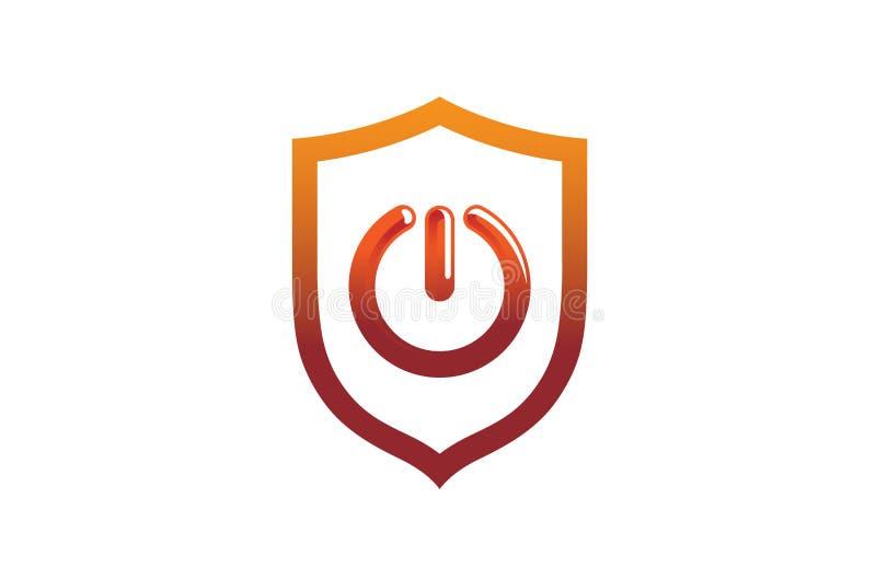 La puissance abstraite créative mettent en marche le bouclier Logo Design Symbol Vector Illustration illustration stock
