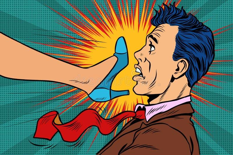 La puissance de fille, femme combat avec un homme Conflits de genre illustration de vecteur