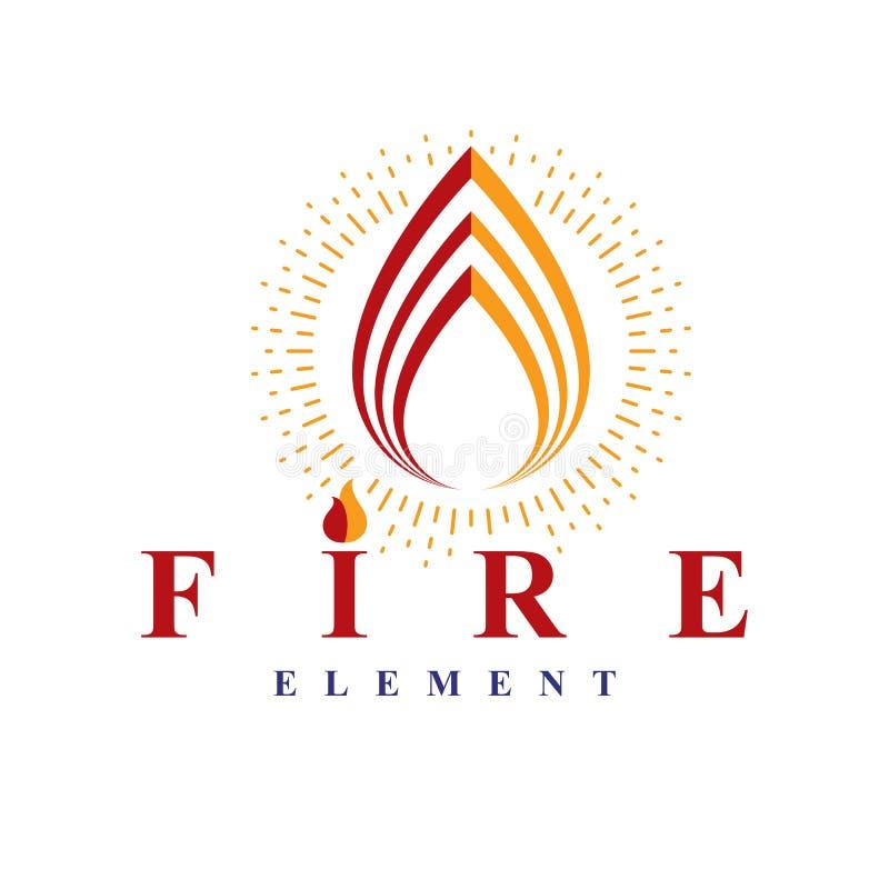 La puissance du feu brûlant, logo de vecteur d'élément de nature pour l'usage dedans illustration de vecteur