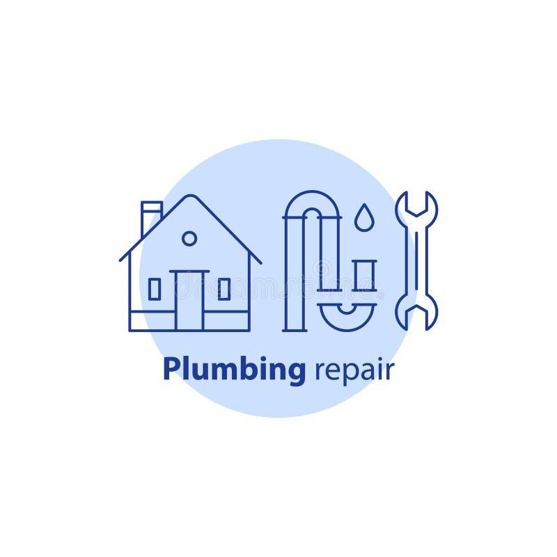 la pulizia dell'impedimento della P-trappola, cambiamento convoglia, impianto idraulico della casa assiste, smantella i tubi, la  illustrazione vettoriale