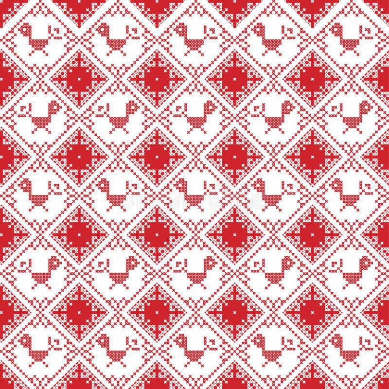 La puntada cruzada inconsútil escandinava inspiró por el modelo nórdico de la Navidad del estilo en puntada cruzada con el petirr ilustración del vector