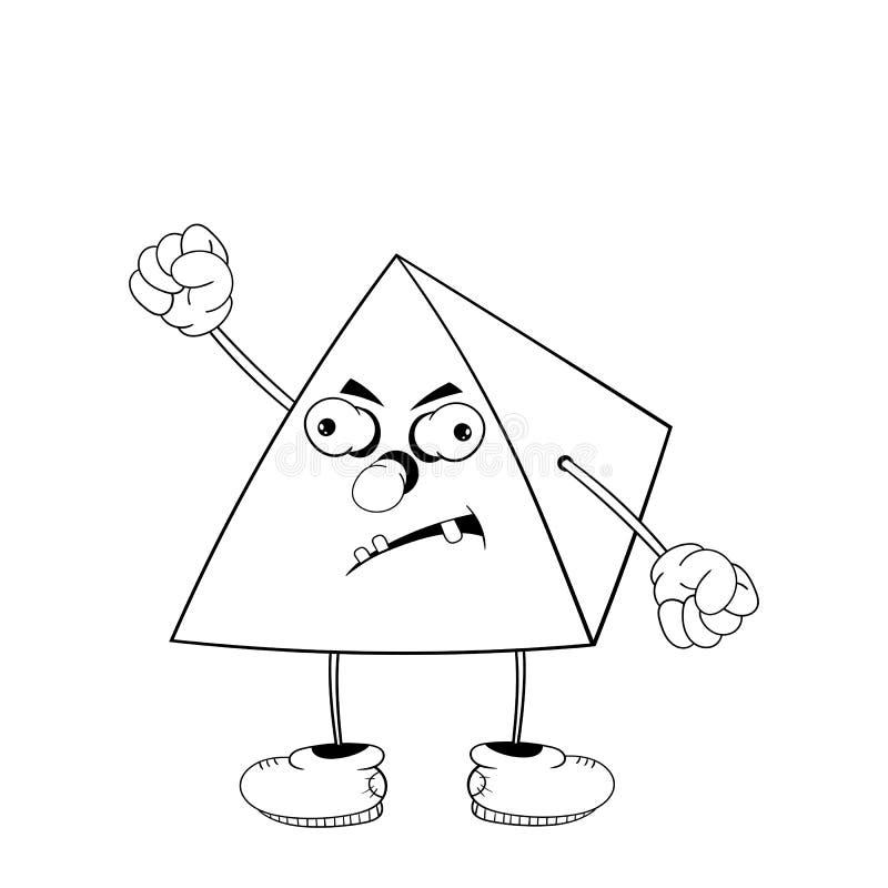 La pyramide drôle de bande dessinée avec des yeux, des bras et des jambes dans des chaussures est fâchée et montre à un poing la  illustration libre de droits