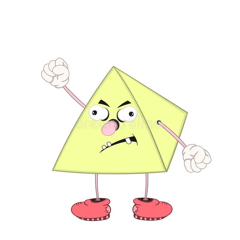 La pyramide drôle de bande dessinée avec des yeux, des bras et des jambes dans des chaussures est fâchée et montre un poing illustration stock
