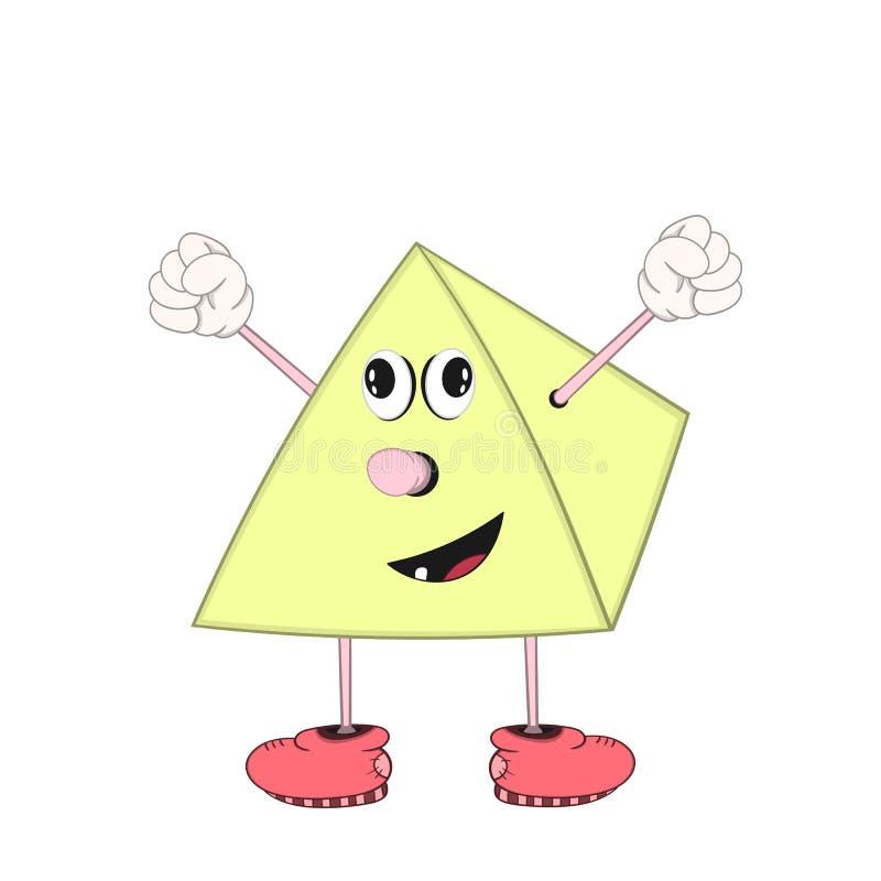 La pyramide drôle de bande dessinée avec des yeux, des bras et des jambes dans des chaussures montre une émotion joyeuse et soulè illustration stock
