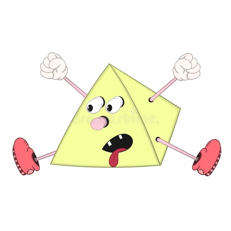 La pyramide drôle de bande dessinée avec des yeux, des bras et des jambes dans les chaussures criant et sautant a collé sa langue illustration de vecteur