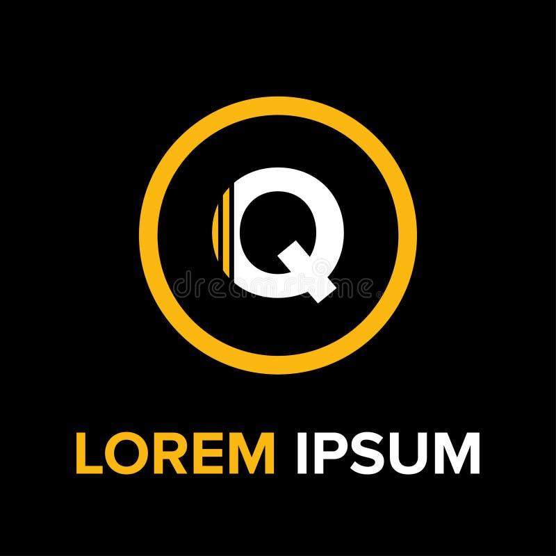 La Q segna il logo con lettere per l'affare immagine stock
