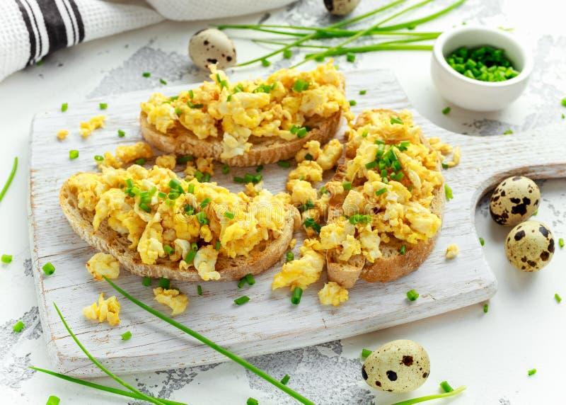 La quaglia casalinga ha rimescolato le uova su pane tostato croccante, pane con la cipolla verde, erba cipollina sul bordo bianco immagini stock libere da diritti