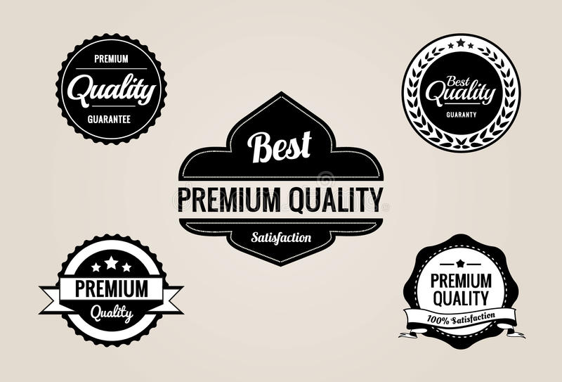La qualità premio & la garanzia contrassegna la raccolta - retro disegno illustrazione di stock