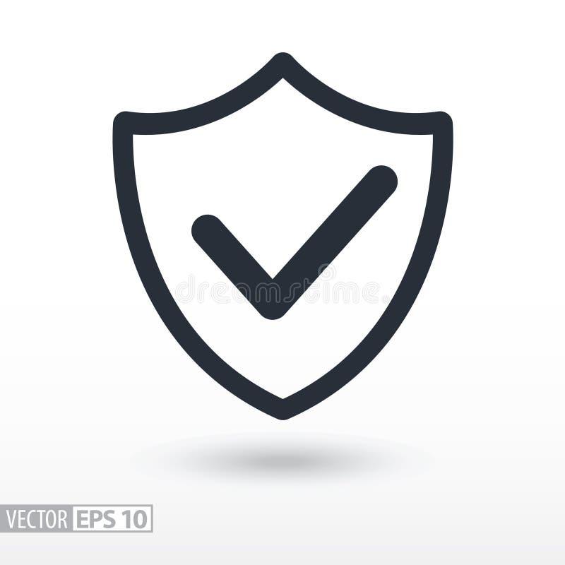La qualité est icône plate confirmée Bouclier de signe Logo de vecteur pour le web design illustration stock