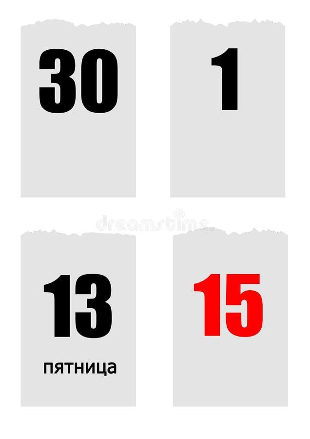 La quatre-feuille arrachent le calendrier avec des dates 1,15, 30, et vendredi le 13ème dans la langue russe photo libre de droits