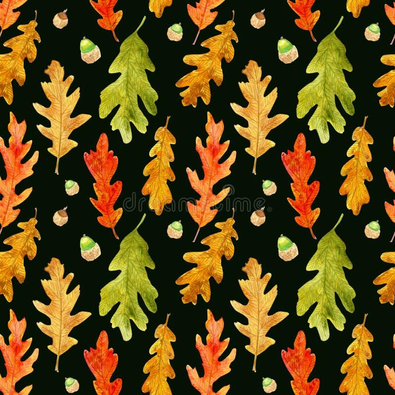 La quercia di autunno dell'acquerello lascia il modello senza cuciture sul nero royalty illustrazione gratis