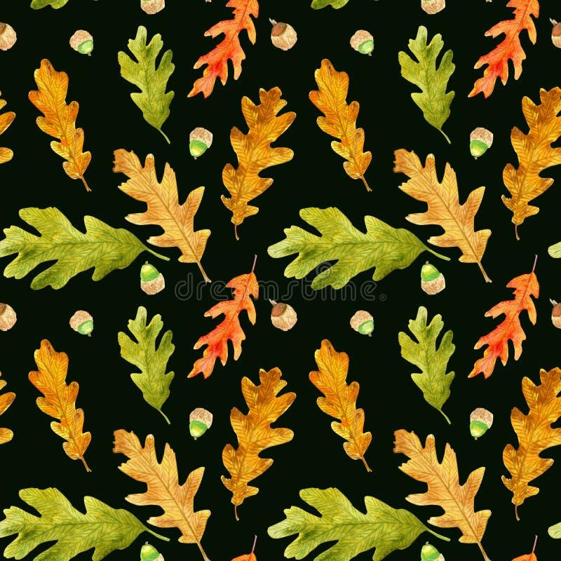 La quercia di autunno dell'acquerello lascia il modello senza cuciture sul nero immagine stock libera da diritti