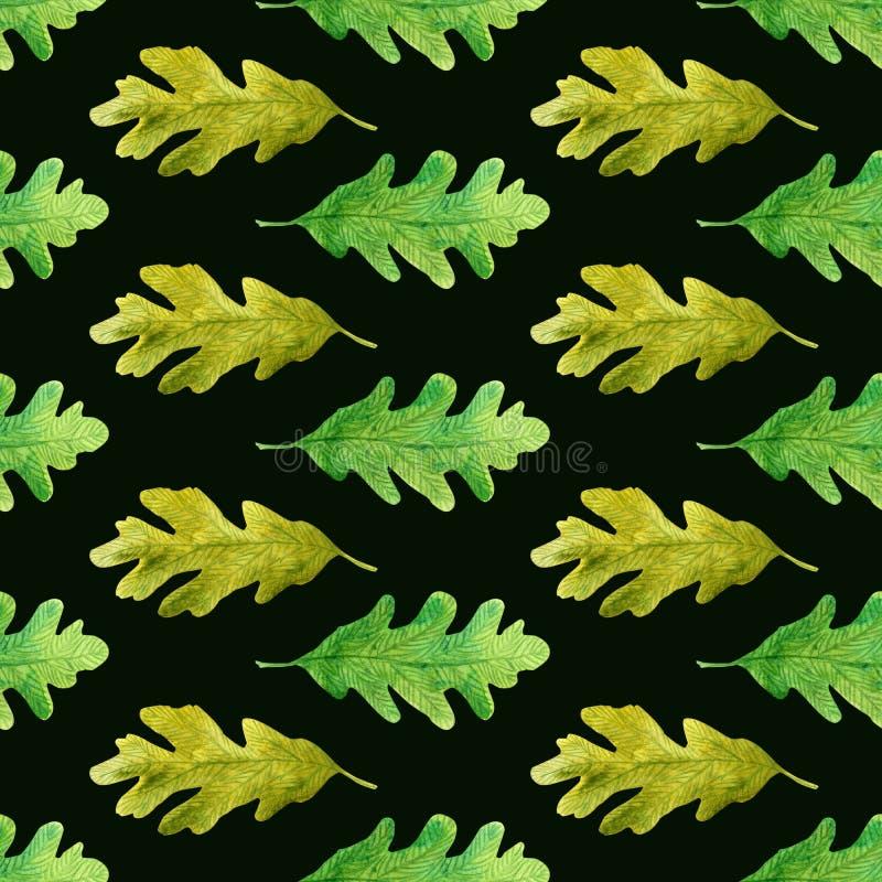 La quercia laconica dell'acquerello lascia il modello senza cuciture sul nero illustrazione vettoriale
