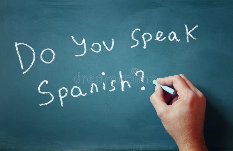 La question vous parlez espagnol écrit sur la main de tableau et de mâle photos libres de droits