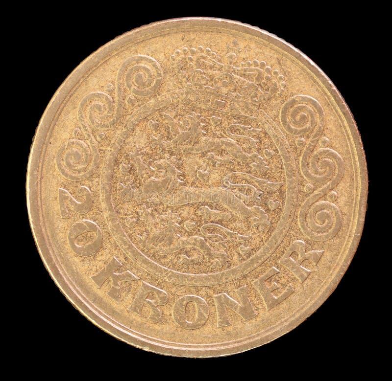 La queue de 20 couronnes inventent, publié par le Danemark dépeignant en 1991 le manteau des bras national photographie stock