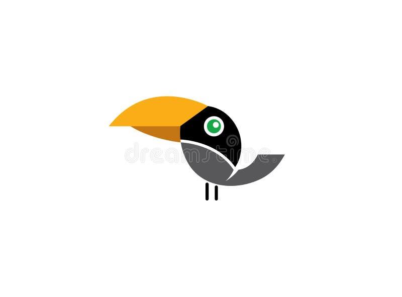 La quilla cargó en cuenta el pájaro del negro del tucán con el pico amarillo para el diseño del logotipo ilustración del vector