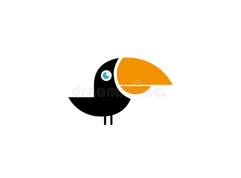 La quille a affiché l'oiseau de noir de toucan avec le bec jaune pour le logo illustration libre de droits