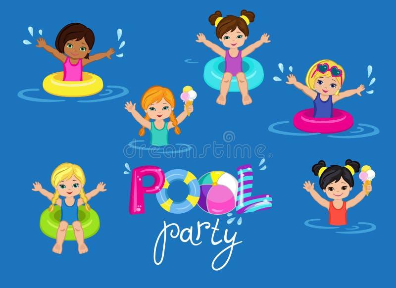 La réception au bord de la piscine des enfants sur le fond illustration stock