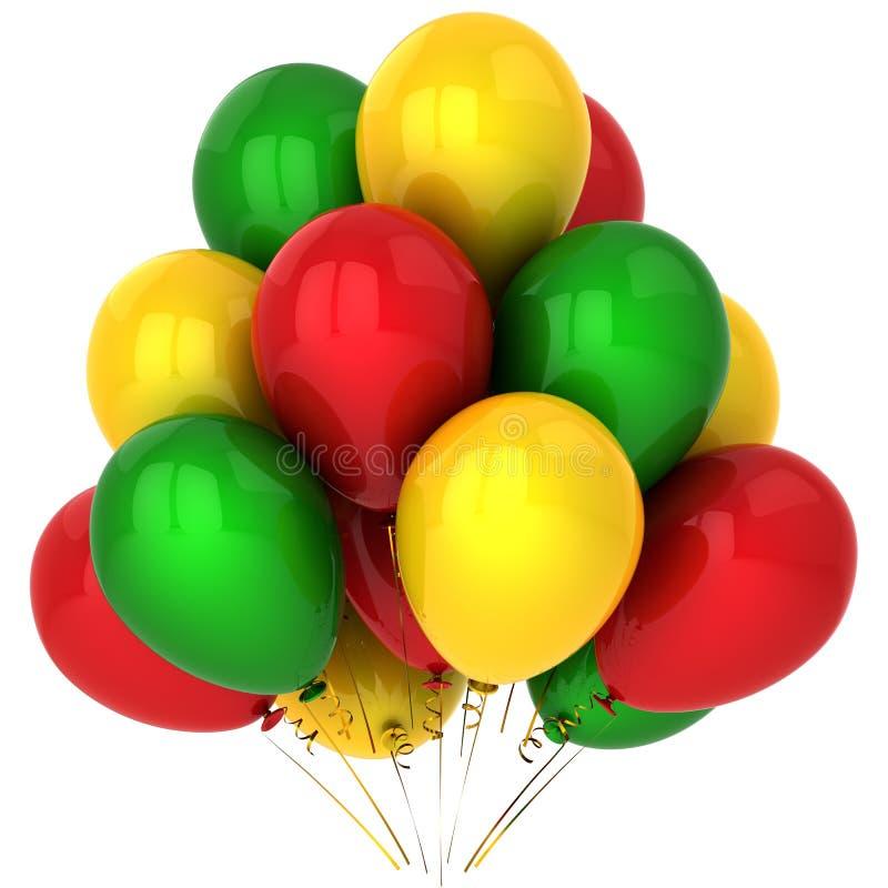 La réception colorée monte en ballon (les locations) illustration de vecteur