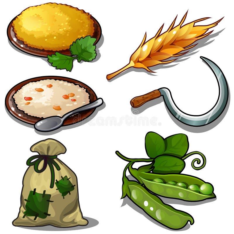 La récolte a placé - le gruau, les pois crus, sac de grain Icônes thématiques naturelles et de nourriture six d'isolement sur le  illustration de vecteur