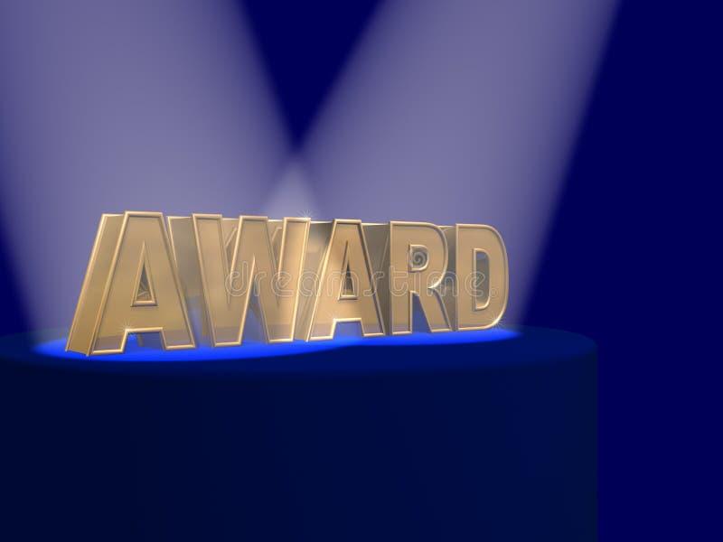 la récompense a couvert des projecteurs de lettres d'or illustration stock