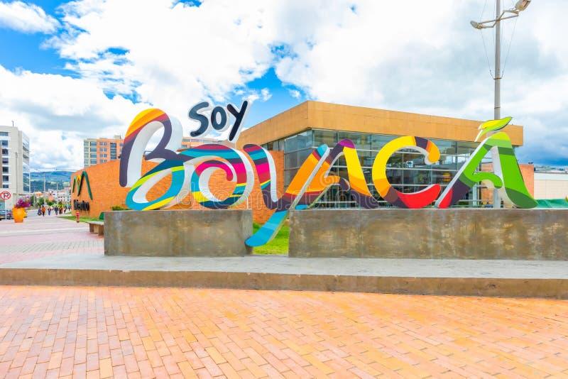 La région de Boyaca de ville de Tunja de la Colombie a coloré le signe photo libre de droits