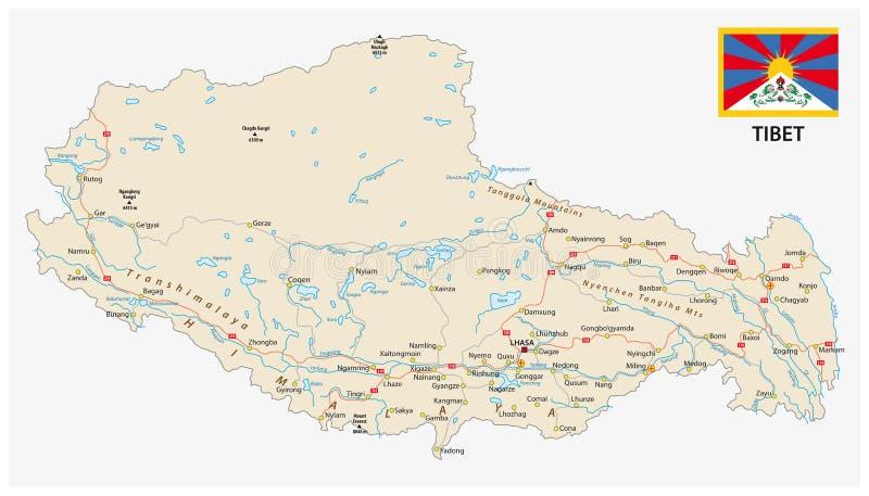 La région du Thibet avec les villes importantes et les routes dirigent la carte et le drapeau illustration stock
