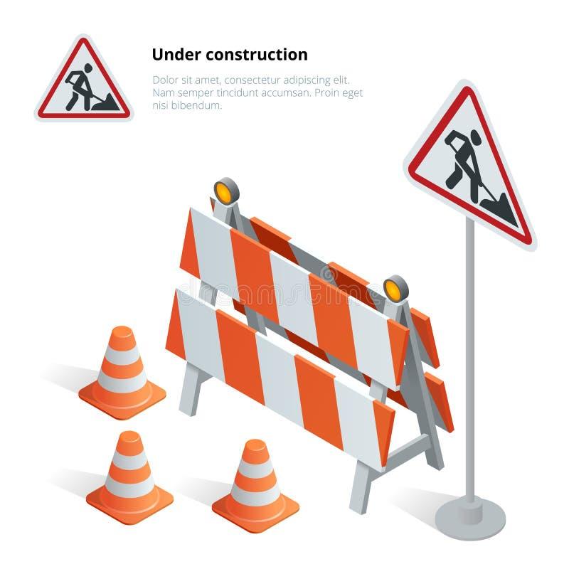 La réparation de route, le panneau routier en construction, les réparations, l'entretien et la construction du trottoir, route on illustration libre de droits