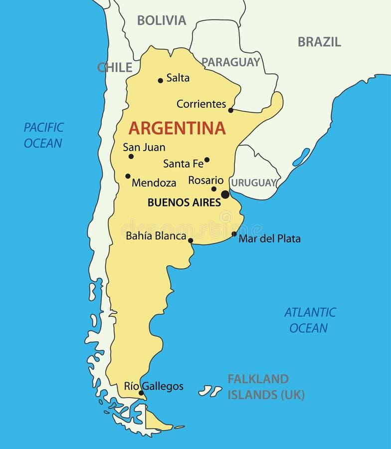 La république d'Argentine (Argentine) - dirigez la carte illustration stock
