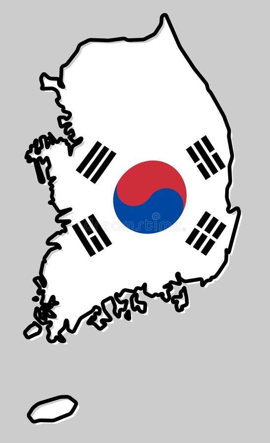 La république de Corée du Sud ROK a simplifié le contour de carte, avec le sligh illustration stock